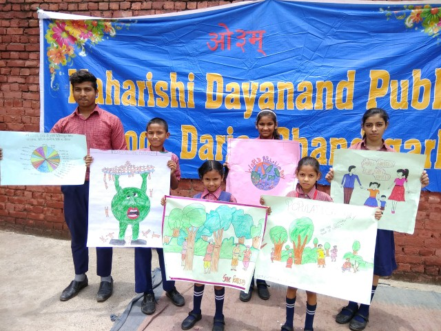 Maharishi Dayanand Public School Daria, Chandigarh arranged a Poster Making Competition