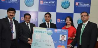Vedant Gupta, first student customer of HDFC Bank ISIC Student Forex Plus Card from Punjab at the national campaign launch of the co-branded ForexPlus Card in Chandigarh