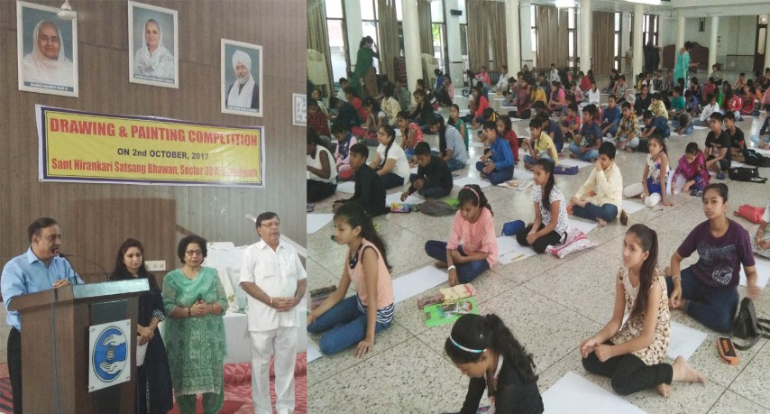A Painting competition on spiritual and social topics was organized today by Chandigarh branch of Sant Nirankari Mandal