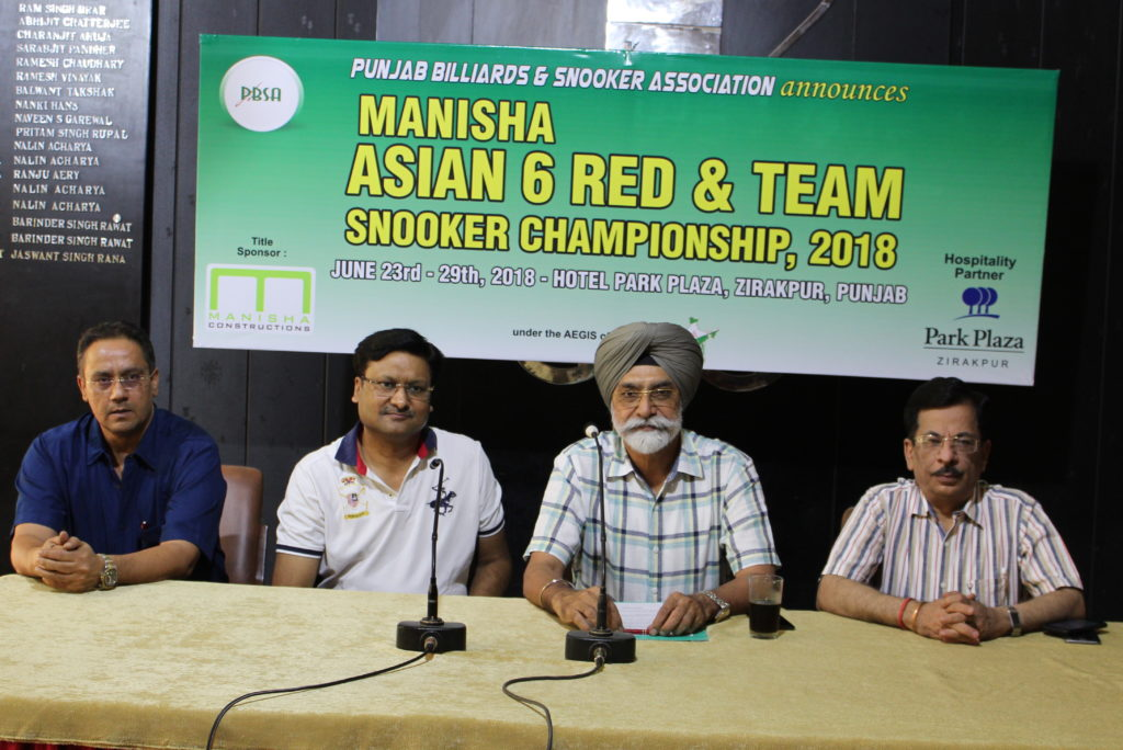 Manisha Asian 6-Red and Team Snooker Championship tobe held in Chandigarh from June 23