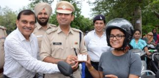 an awareness drive among females to wear helmet was conducted by Chandigarh Traffic Police