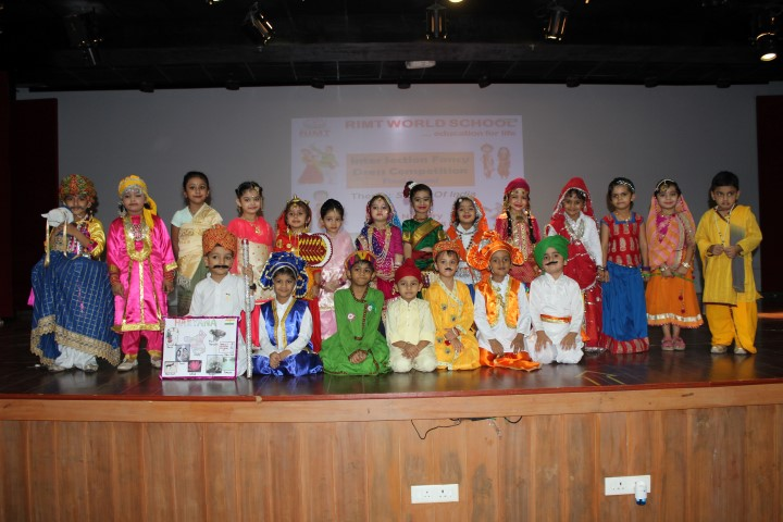 "RIMT World School held a fancy dress competition for the students of Class Nursery on Friday, August 10, 2018 on the theme ""States of India"" where they came forward displaying their vibrant costumes."