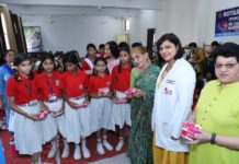 Sanitary napkins distributed among school students