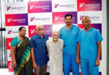 parvathy Hospital Celebrates a rare case of achieving complete mobility for one of the oldst total hip replacmnt survival patient