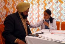 250 screened in a healthcampat Gurudwara Shri Singh Sahib