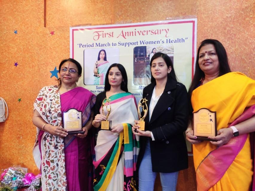 Oscar Woman Suman honored padwoman Renu Mathur & Educational motivator Renu Goel