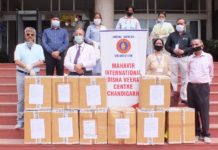 Safety Equipment Donated to PGI Docs in memory of social worker Principal ML Jain
