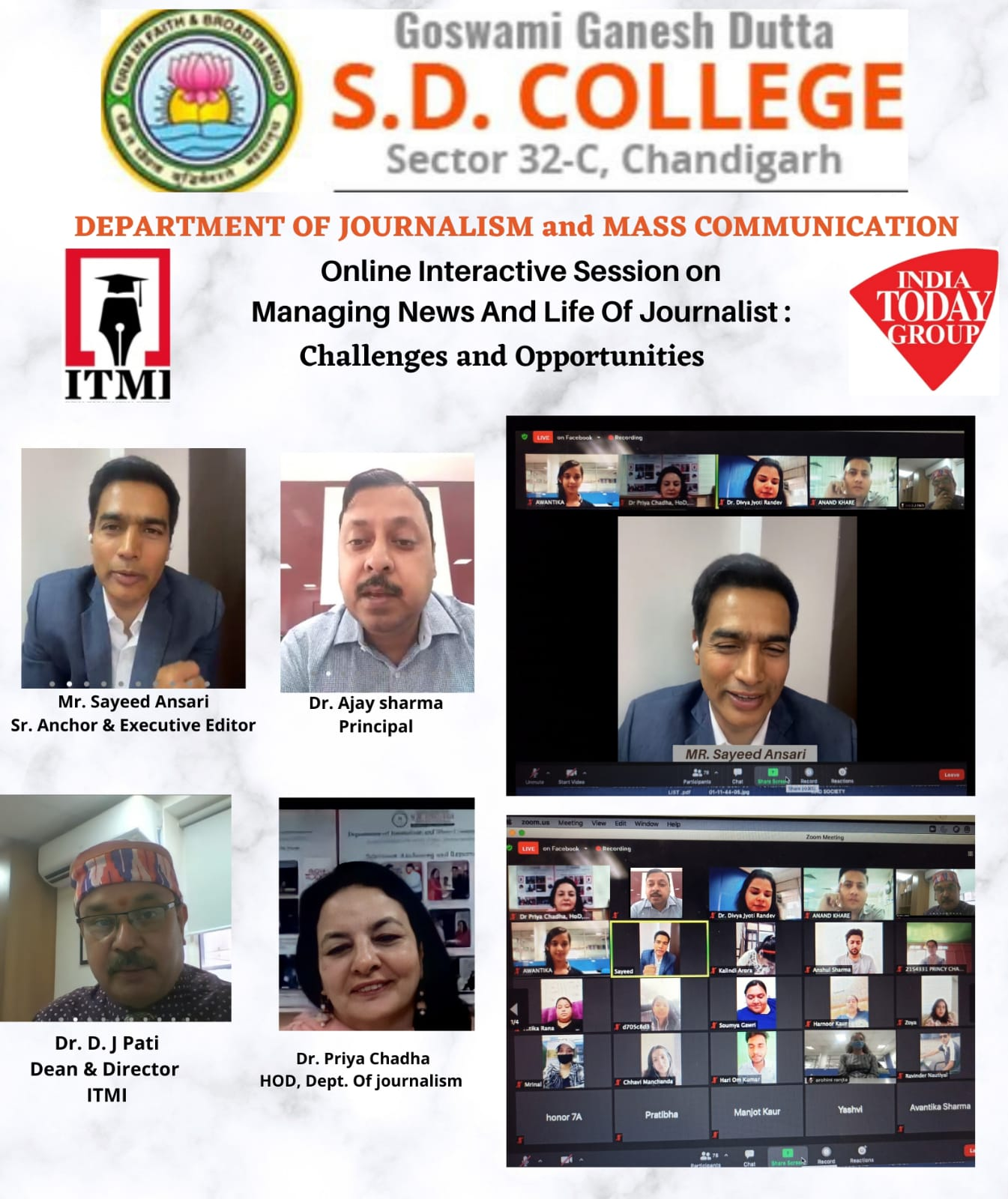 Virtual Interaction on'Managing news&life of a Journalist: challenges&opportunities' at GGDSD College